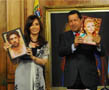 N-1147 Argentine President Cristina Fernandez de Kirchner together with Venezuelan President Hugo Rafael Chavez Frias are announcing the winners of the contest «The Best Man of the Year» at the final show. If you paste your pictures into the frames, they could be you.