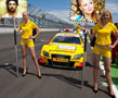 N-930 In this photo frame you will find two blondies standing at the racing track in front of a bright yellow sport-racing car. They are holding two boards, in which you can upload your pictures. A question! Are the girls your sponsors, promoters or just fans?